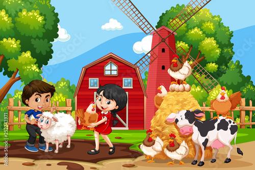 Stampa su Tela Children in farm scene with animals