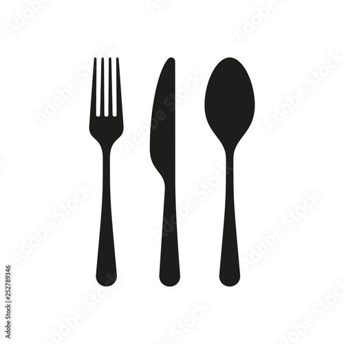 Fotografie, Obraz Spoon, knife, fork silhouettes icons.