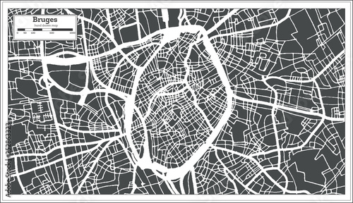 Photo Bruges City Map in Retro Style. Outline Map.