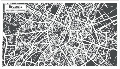 Obraz na plátně Brussels City Map in Retro Style. Outline Map.