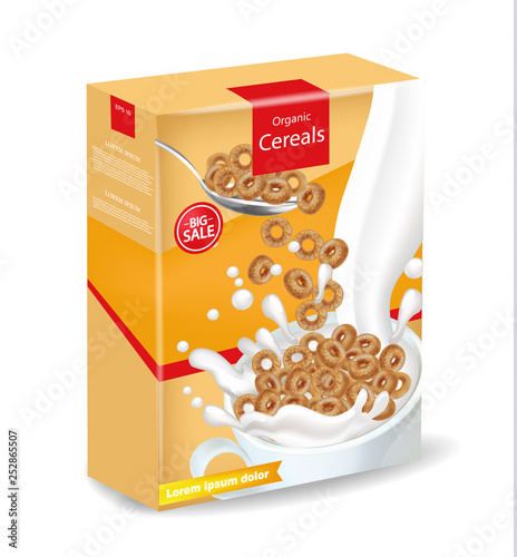 Organic rye cereals package Vector realistic mock up Fototapete