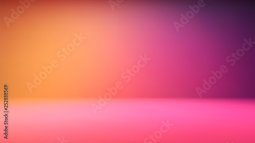 Cuadros en Lienzo Colorful gradient studio backdrop with empty space for your content