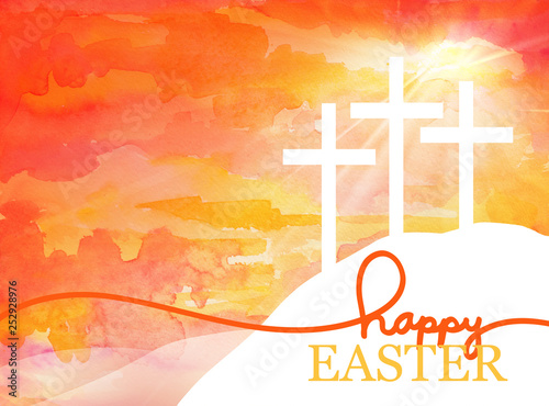 Canvas Print Easter background design of three white crosses on watercolor sunrise background