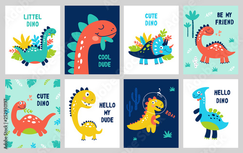 Wallpaper Mural Set baby print with Dino