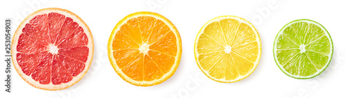 Fényképezés Citrus fruit slices isolated on white background