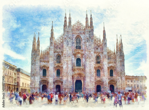 Fotografie, Obraz Duomo di Milano watercolor painting