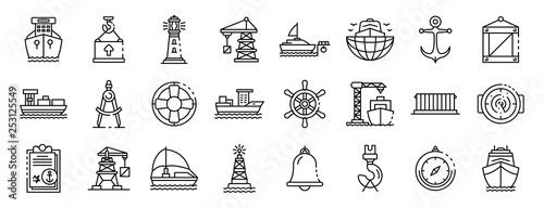 Obraz na plátně Marine port icons set