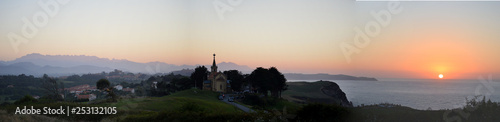 Panorama of a sunset by the cantabrian coast, Ruiloba, Cantabria