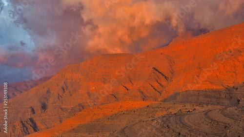 Beautifulli illuminated mountain landscape. Ru'us al Jibal. Al Hajar Moutains. Musandam. Oman