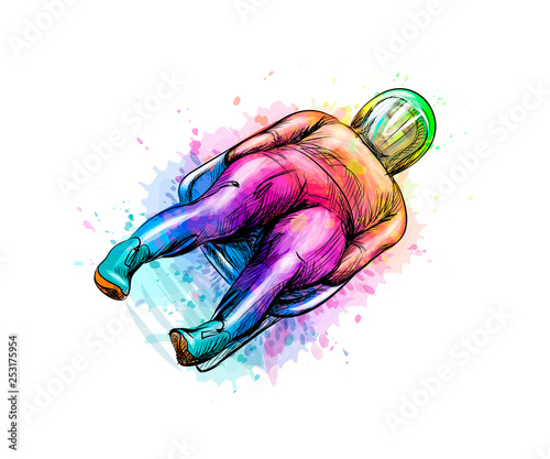 Obraz na płótnie Abstract Luge sport winter sports from splash of watercolors