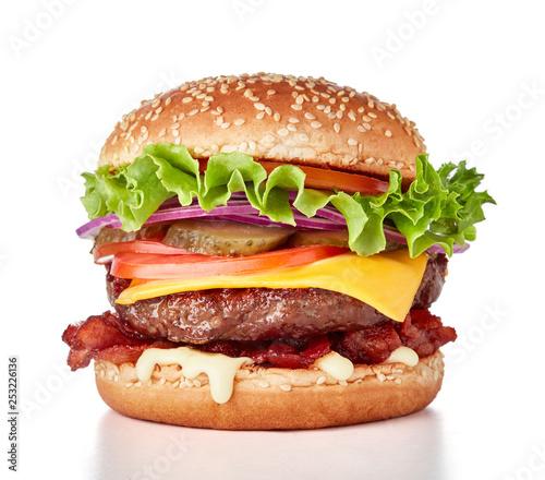 Fotografie, Tablou hamburger isolated on white background