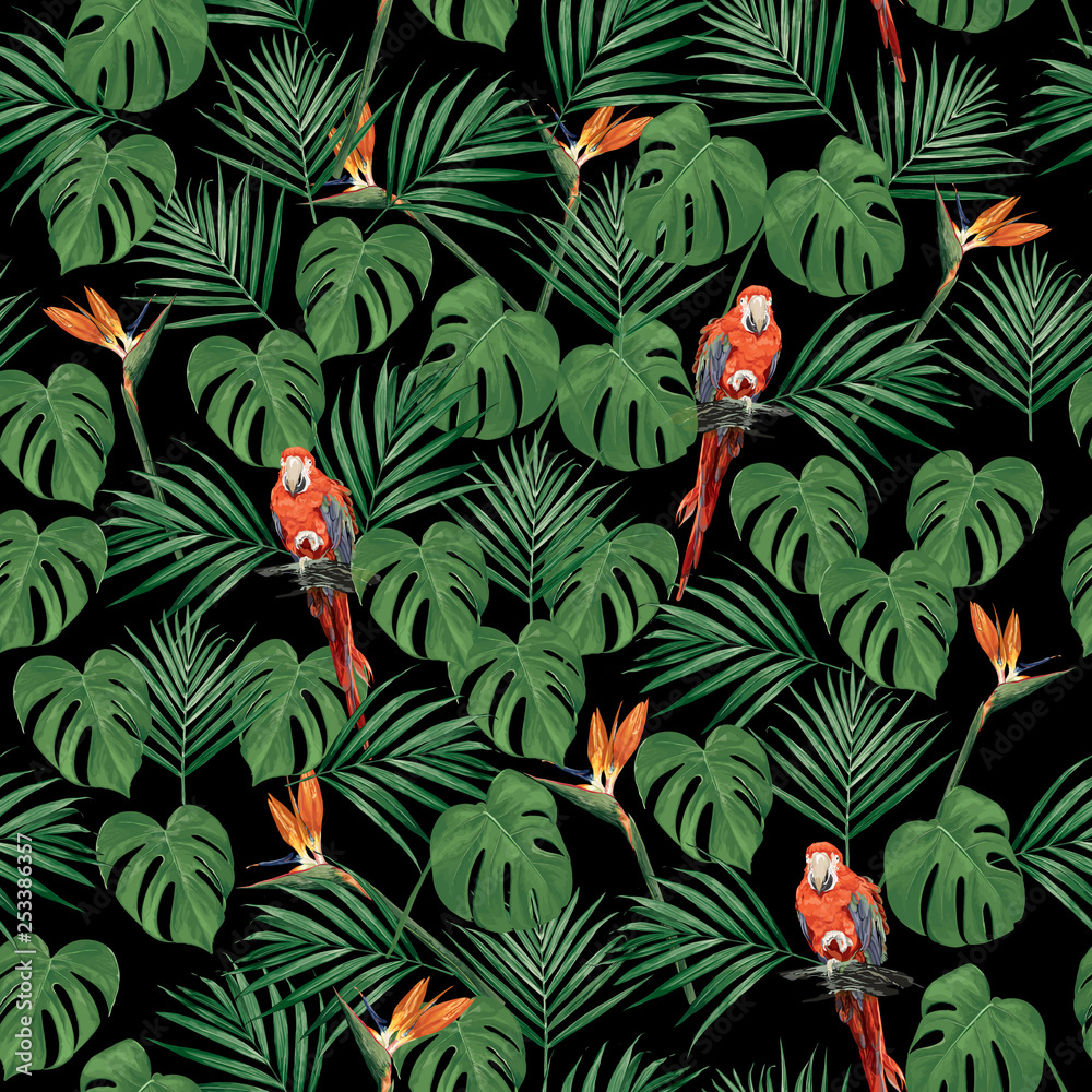 seamless tropical pattern on black background