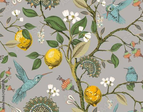 Fotografie, Tablou Floral vector seamless pattern