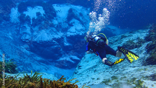 Photo Man scuba diving in a spring in florida in the crystal clear blue water