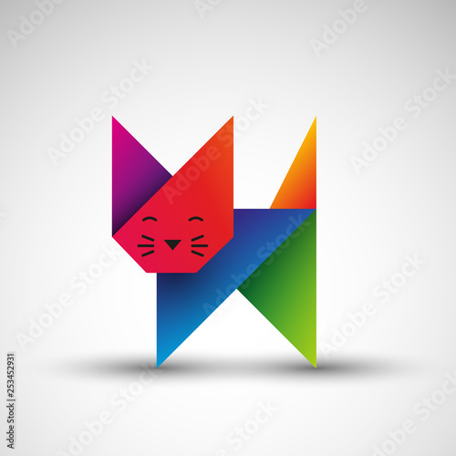 kot origami wektor
