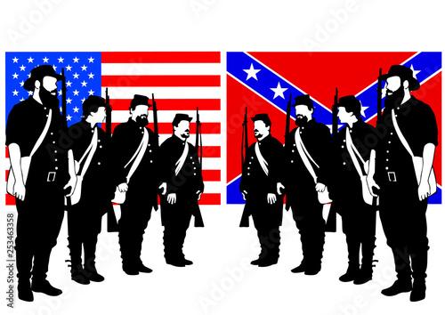 Fotografia, Obraz American soldiers in uniform of civil war times on white background