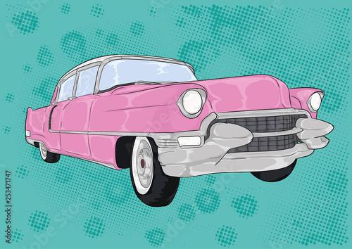 Valokuvatapetti różowy cadillac, caddy, pink,cartoon