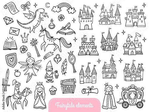 Canvas Print Big set of a fashion fairy tale and magic objects isolated on white background