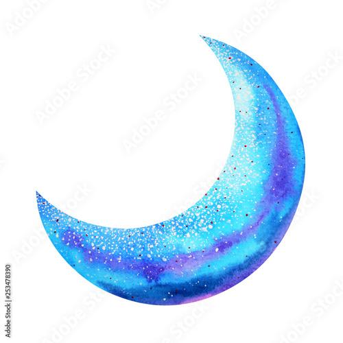 Vászonkép blue moon watercolor painting hand drawing illustration design