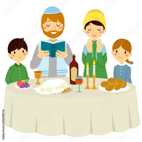 Canvas Print Jewish family having a Shabbat dinner with a traditional Kiddush