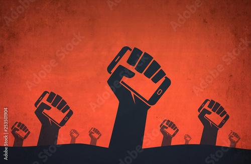 Fotografia Hand smartphone digital revolution protests