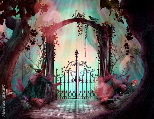 Vászonkép Archway in an enchanted fairy garden Landscape