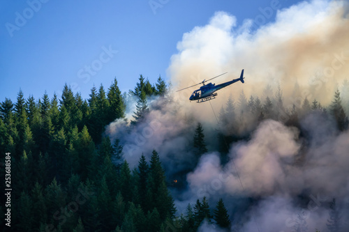 Fotografia Helicopter fighting BC forest fires during a hot sunny summer day