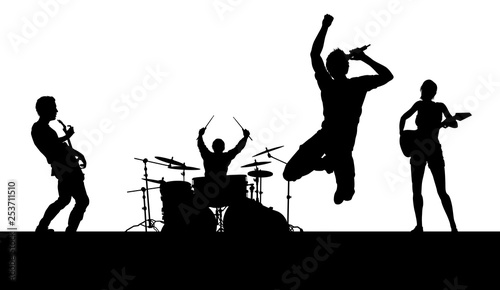 Stampa su Tela A musical group or rock band playing a concert in silhouette
