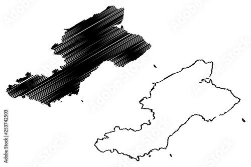 Fotografia, Obraz Fife (United Kingdom, Scotland, Local government in Scotland) map vector illustr
