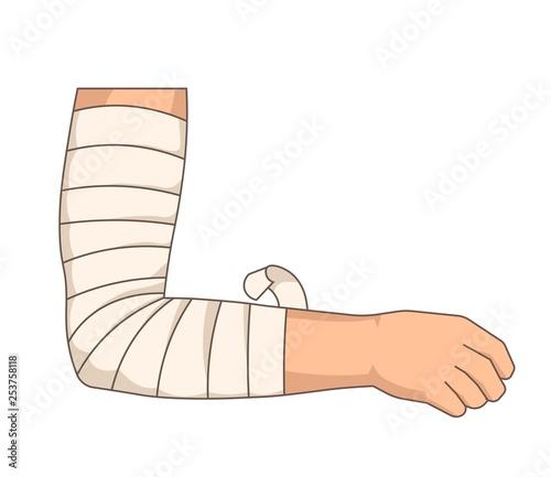 Foto Bandage elbow injury arm bandaging elastic tape