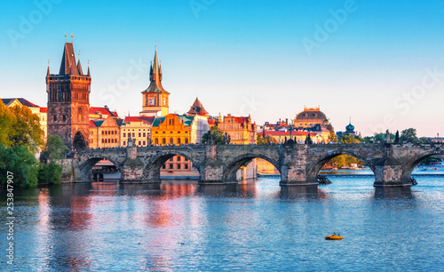 Canvas Print Scenic view on  historical center of Prague,buildings and landmarks of old town,