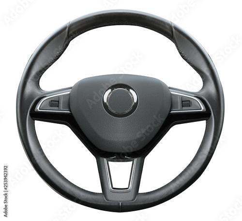 Fotografie, Tablou black wheel on white background