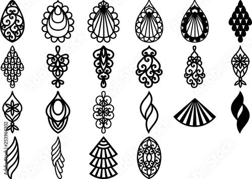 Fototapeta Teardrop Earrings, Earrings Template, Laser Cut Pendant, Faux Leather Bijouterie