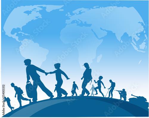 Valokuva immigration people walk under world map background