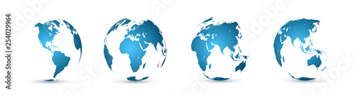 Earth globe. World map set. Planet with continents. Vector Illustration #254029964