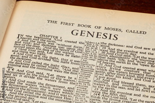 Canvastavla Genesis 1 In The Beginning From Old Bible