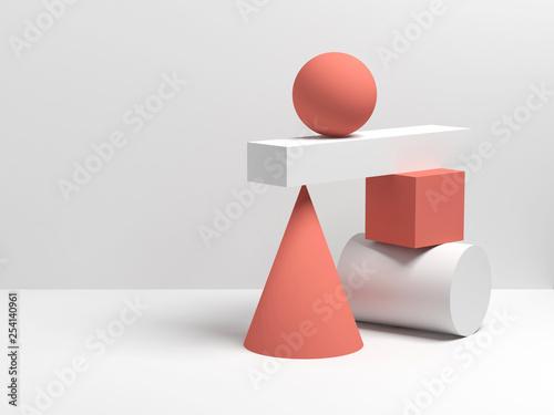 Fotografia Abstract 3d equilibrium still life installation