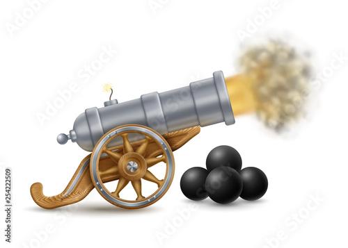Big Cannon and Cannonballs Fototapete