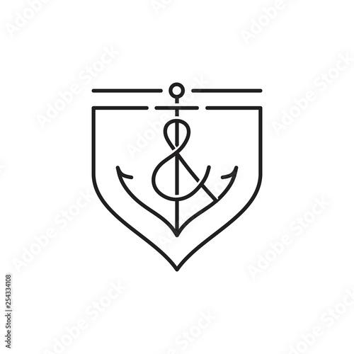 Obraz na plátne anchor line logo with shield design illustration