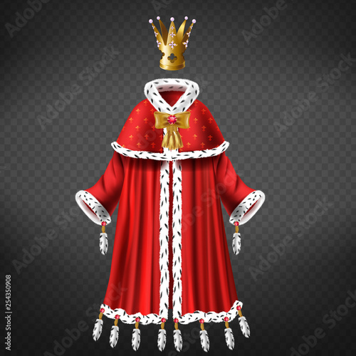 Fotografering Queens, princess royal robe with cape, mantle trimmed ermine fur, decorated tassels, bow with ruby, gold crown inlaid pink perl 3d realistic vector isolated on transparent background