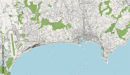 Photo map of the city of Cannes, France