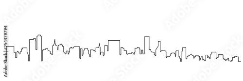Fotografia, Obraz Modern cityscape continuous one line vector drawing