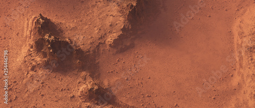 Fotografia Rough rocky mars landscape from above.