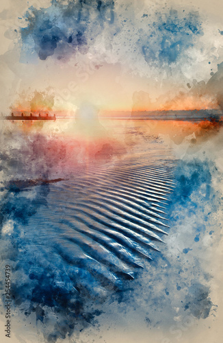 Canvas Print Watercolour painting of Beautiful low tide beach vibrant sunrise
