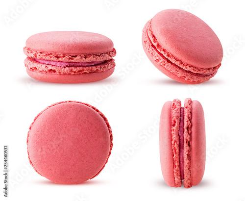 Obraz na plátně Set sweet raspberries macarons