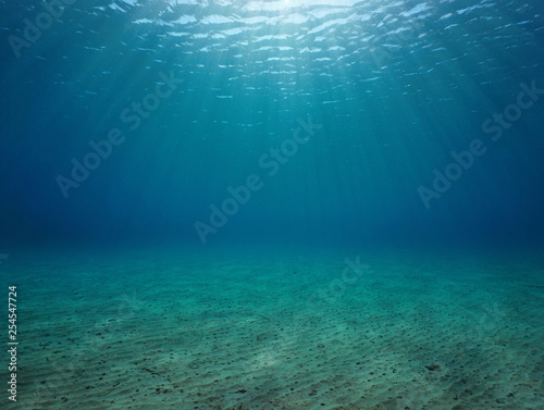 Fotografia Underwater seascape sandy seabed with natural sunlight below water surface in th