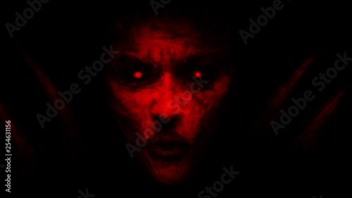 Valokuva Devilish woman appears from dark and kisses