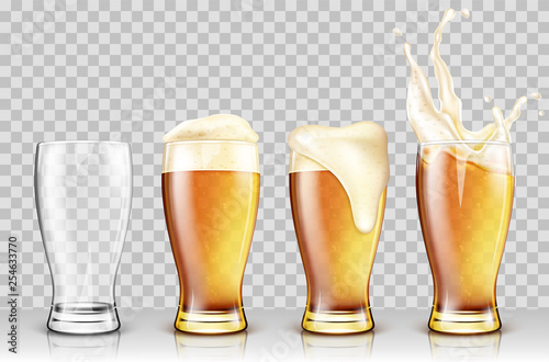 Wall mural Set of various full and empty beer glasses. Isolated on transparent background. Realistic vector illustration