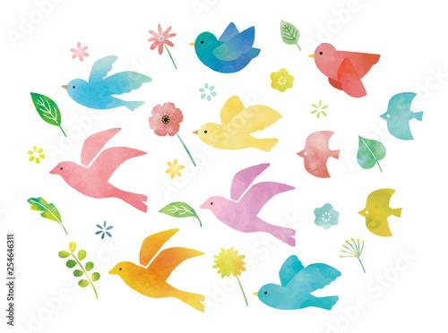 鳥と花と葉