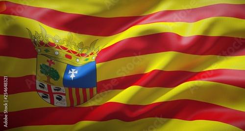 Photo Bandera oficial de Aragón, comunidad autónoma del norte de España